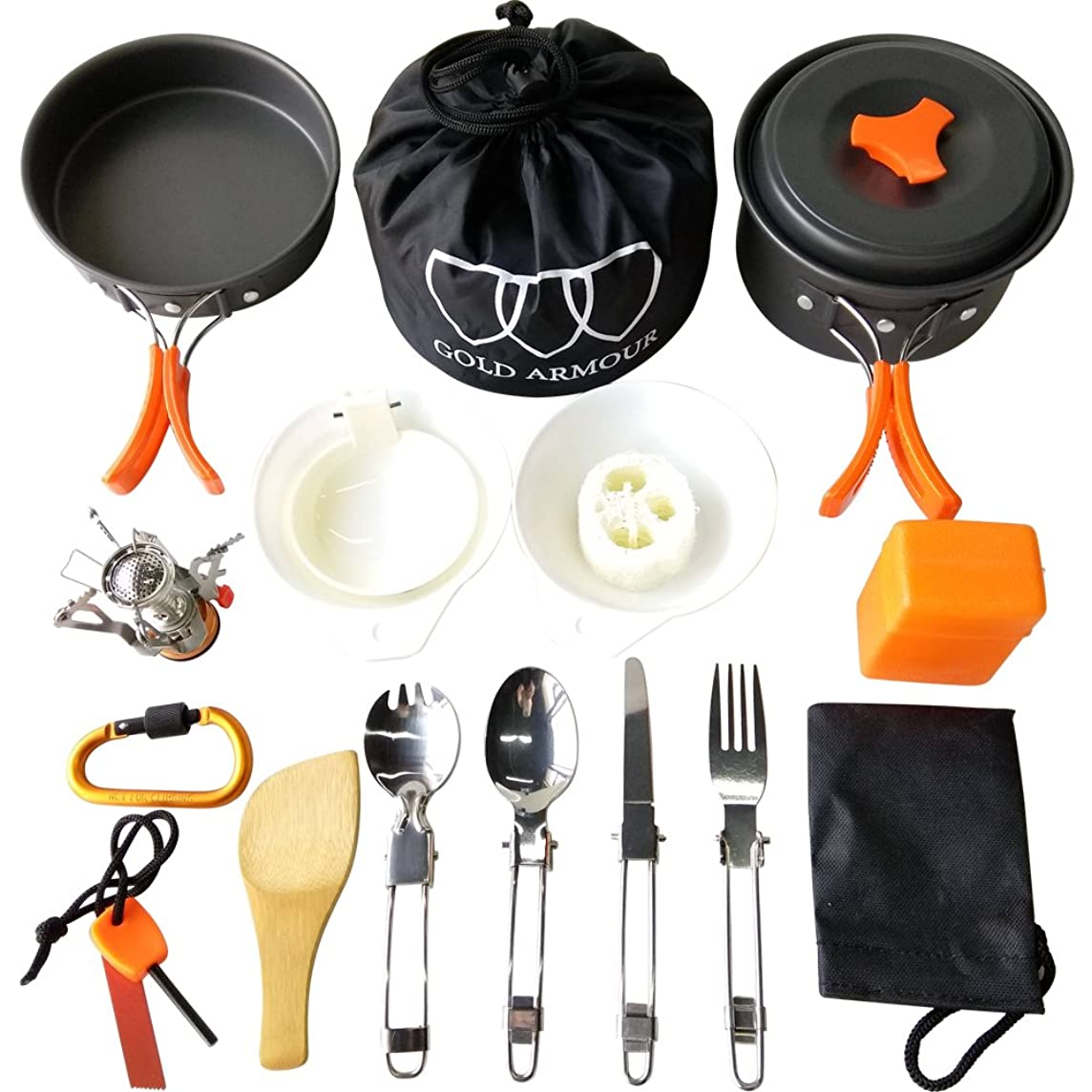Gold Armour 17Pcs Camping Cookware Mess Kit Backpacking Gear & Hiking Outdoors Bug Out Bag Cooking Equipment Cookset | Lightweight, Compact, Durable Pot Pan Bowls