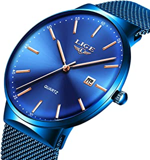 Mens Watches,LIGE Watches for Men Fashion Sports Waterproof Stainless Steel Mesh Wristwatch Men Bussiness Dress with Date Full Blue Analog Quartz Watch Man …
