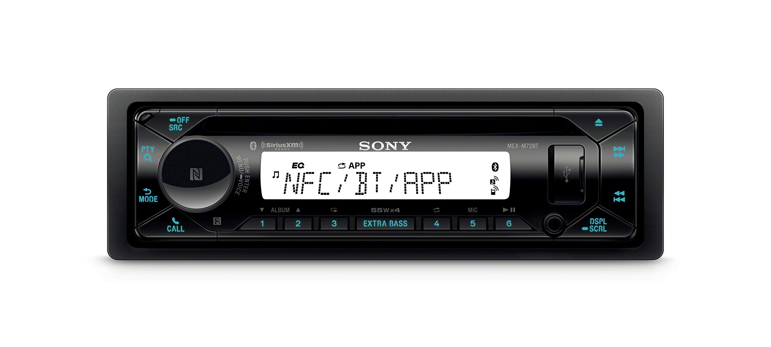 Sony MEX-M72BT Marine CD Receiver with Bluetooth and SiriusXM Ready Bundle with Dual Electronics SG3 Transparent Waterproof Marine Splashguard Radio Housing Unit Single DIN