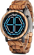 BOBO Bird Men's Digital Led Display Bamboo Watch Night Vision Handmade Wooden Wrist Watches with Gift Box