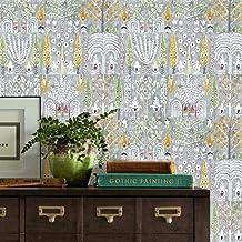 RoomMates RMK11768RL Grey and White Persian Ikat Peel and Stick Wallpaper