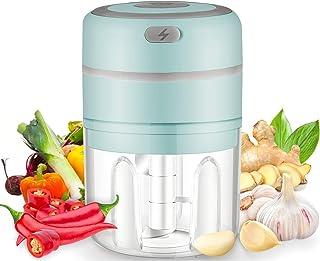 Mini Hachoir Electrique, 250ML Mini Hachoir Ail, Mixeur Portable Blender avec 3 Lames en Inox, pour Aliments pour Bébé,Via...