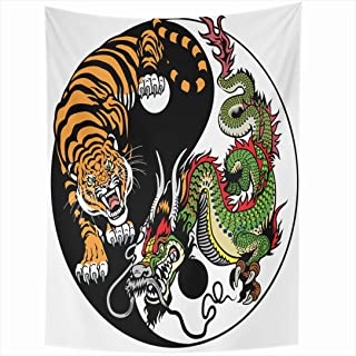 Ahawoso Tapestry 60x90 Inch Chinese Animal Dragon Tiger Yin Yang Harmony Animals Wildlife Male Miscellaneous Tattoo Circle Balance White Tapestries Wall Hanging Home Decor Living Room Bedroom Dorm