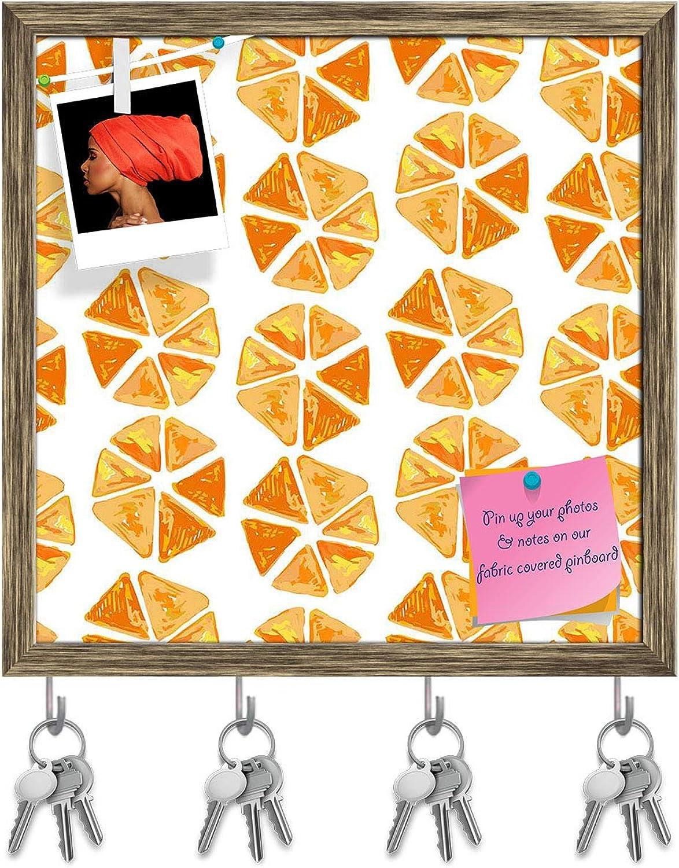 Artzfolio Geometrical Key Holder Hooks   Notice Pin Board   Antique golden Frame 20 X 20Inch