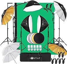LOMTAP Photo Studio Lighting Kit Photography Studio Softbox Light Kit Background Support System 6.5ftx9.8ft Stand Octagona...