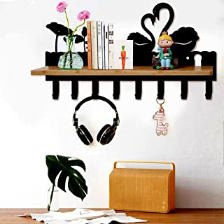 Creative Piano Design Wooden Wall Shelf With Hook Over Door Storage Rack Organizer For Clothes Hat Bag Key Holder Home Decor Home Improvement Bathroom Hardware