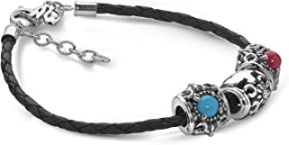Sterling Silver Turquoise, Red Coral Gemstone Accent Beads on Black Braided Leather Bracelet Size S, M or L