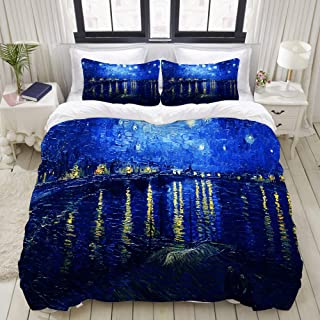 LUBATAGA Duvet Cover Set,Vincent Van Gogh Starry Night Over The Rhone Paintings, Decorative 3 Piece Bedding Set with 2 Pillow Shams,Queen