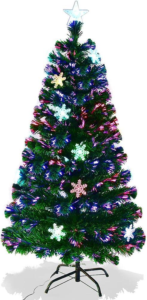 Goplus albero di natale verde pvc con stella di natale e luci colorati a fibre ottiche cambiamento automatico,