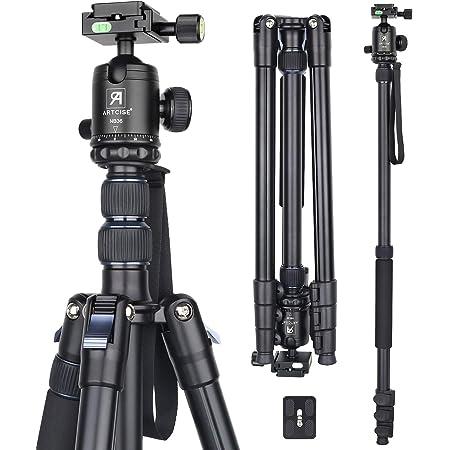 コンパクトアルミ 三脚 全伸高 209.8cm トラベル 一脚伸縮可変式 レバーロック Tripod 高級ボール雲台とクイックシュー付き ARTCISE 軽量 合金 ビデオ カメラ 三脚 最大耐荷重15キロ デジタルカメラ DSLR 一眼レフCanon Nikon Petax Sonyなど用 運動会 登山 野外撮影用(AF30)