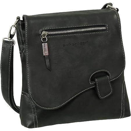 Ledershop24 Geschenkset - Handtasche Schultertasche Umhängetasche Wildleder-Imitat Used Look mit Riegelverschluss Farbe schwarz
