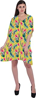 RADANYA Floral Women Loose Kaftan Swimsuit Cover Up Beach Short Casual Caftan Dress
