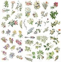 Everjoy Vintage Retro Flower Planner Stickers Set, Decorative Embellishments Accessories, Adhesive Garden Wildflowers Rose for Scrapbook, Journal, Card Making, Letters, Calendar