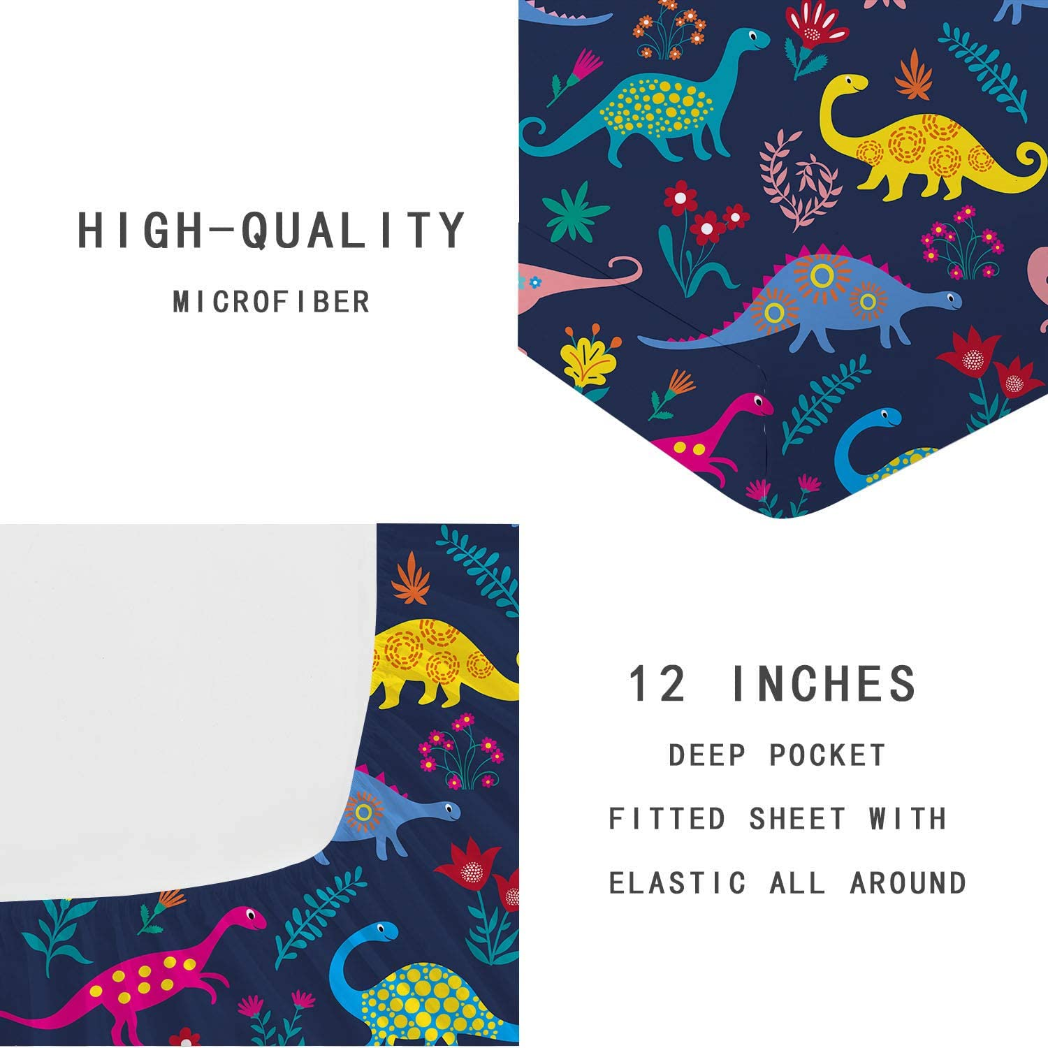 Jameswish Kids Blue Dino Fitted Sheet Full Queen Size Multi-Colored Dinosaur Happy Valley Cartoon Animal Fitted Sheet Soft Microfiber Double Bed Fitted Sheet with Deep Pocket,1pcs,Dark Blue