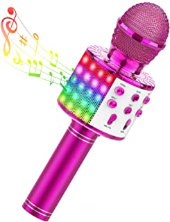 TECBOSS LED Karaoke Microphone, Easter Gifts Wireless Bluetooth Microphone for Kids Teens Adults - Best Gifts Toys