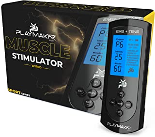 Muscle Stimulator & TENS Unit System by PlayMakar with 10 programs for Muscle Conditioning and Pain Relief. Comes with Explosive Strength mode, Rechargeable, Back Lit Display, Includes Electrodes