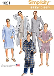 Simplicity Easy to Sew Classic Men's Robe and Pajama Sewing Patterns, Sizes XS-XL