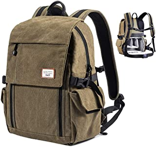 Zecti Camera Backpack Waterproof Canvas DSLR Camera Bag (New Version) for 1 DSLR 4xLens, Laptop and Other Digital Camera Accessories with Rain Cover-Green (style 2)