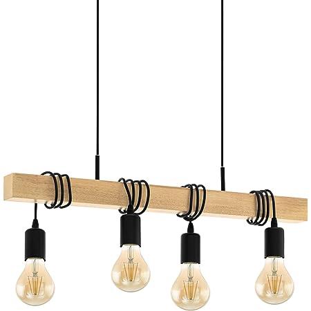 EGLO Suspension en bois vintage TOWNSHEND, lampe suspendue de salle à manger, lampe pendante à 3 flammes, lampe rétro au design industriel avec douille E27, lustre en acier Ø 31 cm