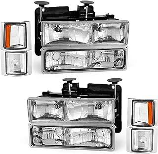 For 1994-1999 Chevy Silverado Pickup Tahoe Suburban Headlights OEDRO C/K 1500/2500/ 3500 Suburban 1500/2500 Amber Side & Bumper Chrome Housing Clear Lens + Bumper Headlamp Left+Right, 2-Yr Warranty