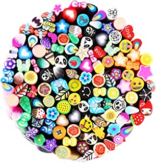 CCINEE 120 Pcs 3D Nail Art Manicure Fimo Canes Fruit Slices Rods for Nail Decal, Slime and DIY Crafts