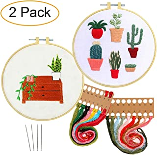 Artilife 2 Pack Embroidery Kit Patterned Full Range of Cross Stitch Kit for Beginners Adults Stamped Embroidery Hoops Floss Needles Hand Craft Projects Cactus Plants