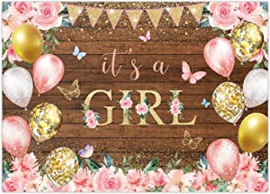 Funnytree 7X5FT It's a Girl Backdrop Baby Shower Birthday Princess Party Supplies Flower Butterfly Balloons Gold Glitter Dots Banner Cake Table Decor Portrait Photobooth Studio Prop Gift