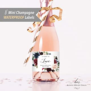 8 Customized WATERPROOF Polyester Mini Champagne Bottle Labels, Personalized Burgundy Navy Blue Floral Mini Wine Bottle Label Sticker, 2x3.5