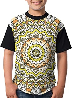 Yellow Mandala Seamless Pattern Teenager Junior Boys Girl Youth Short Sleeve T Shirt tee Sports Shirts(XS,Black)