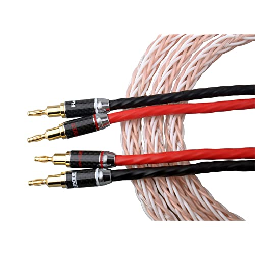 6FT 10 AWG AUDIOPHILE SILVER PLATED SPEAKER CABLES SET Made in USA