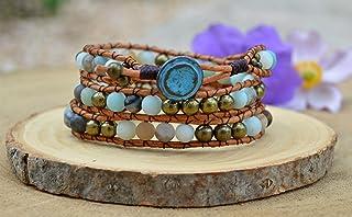 Pulsera Boho de cuero y cuentas naturales con amazonita en color turquesa, brazalete curativo rústico, brazalete hippie, r...