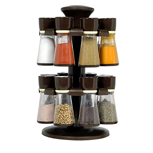 Slings Combo of Multipurpose Revolving Plastic 16 Piece Spice Rack (Black) & Cereal Dispenser Easy Flow Storage Jar 750ml 3 Pcs Set