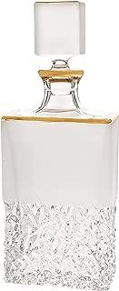 Barski - European Quality - Crystal - Whiskey - Liquor - Rectangular Shaped - Decanter - Raindrop Design with Frosted Border and Gold Rim - 25 oz. - 12