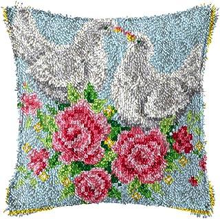 X-xyA Latch Hook Kits Pillowcase Christmas Home Decoration Embroidery Kit Pigeon 17 X 17 Inch,C,17 X 17 inch