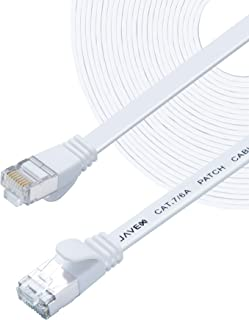 JAVEX CAT7 RJ45 [Shielded, 10GB] Network Ethernet Flat Cable, Color-Black/White, Length- 5/7/10/25/50/100 FT Off-White Fla...