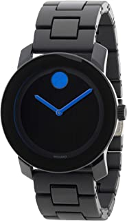 Movado Mens' Black Dial Black Tr90 & Stainless Steel Watch - 3600099