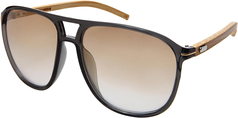 Edge IWear Large Retro Wooden Bamboo Sunglasses Aviators Women Men Mirrored Lens with Case M541088BMREV4(CLGY.kgm)
