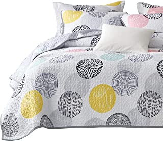 Uozzi Bedding 3 Piece Reversible Quilt Set King Size 104x90 Soft Microfiber Lightweight Coverlet Bedspread Summer Comforter Set Bed Cover Blanket for All Season Colorful Dots (1 Quilt+ 2 Shams)