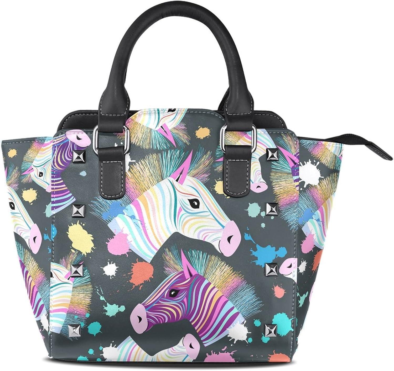 My Little Nest Women's Top Handle Satchel Handbag colorful Zebra Ladies PU Leather Shoulder Bag Crossbody Bag