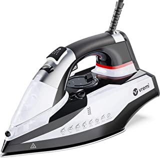 Vremi 1800 Watt Steam Iron for Clothes - Nonstick Ceramic Sole Plate, 350 mL Water Tank, 8 Foot Power Cord, 3 Way Auto Shu...