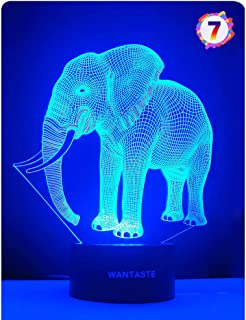 (Elephant) - 3D Elephant Lamp, Optical Illusion Night Light for Room Decor & Baby Nursery, Cool Birthday Gifts for Girls &...