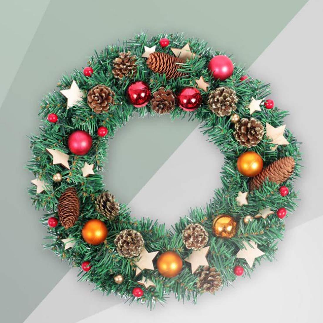 SUIWO Coronas y guirnaldas de Navidad Ventana de la Puerta Delantera escaleras Chimenea de Navidad Garland Decorativos Corona con los Pedazos de Madera, Estrellas y Brillante Conos del Pino: Amazon.es: Hogar