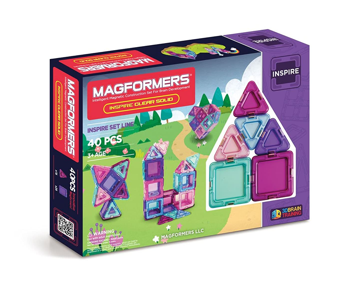 Magformers Solid Inspire Set (40-Pieces) Magnetic    Building      Blocks, Educational  Magnetic    Tiles Kit , Magnetic    Construction  STEM Set