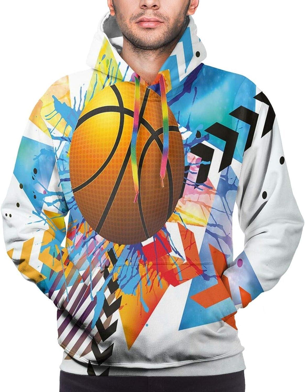 Men's Hoodies Sweatshirts,Basketball in Front of Zigzag Circular Geometric Minimalist Forms Graphic Print