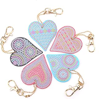 FTVOGUE Heart Shaped Key Chain DIY Decoration Resin Drill Diamond Painting Keyring Gift Home Decor for Bags, Phone Straps
