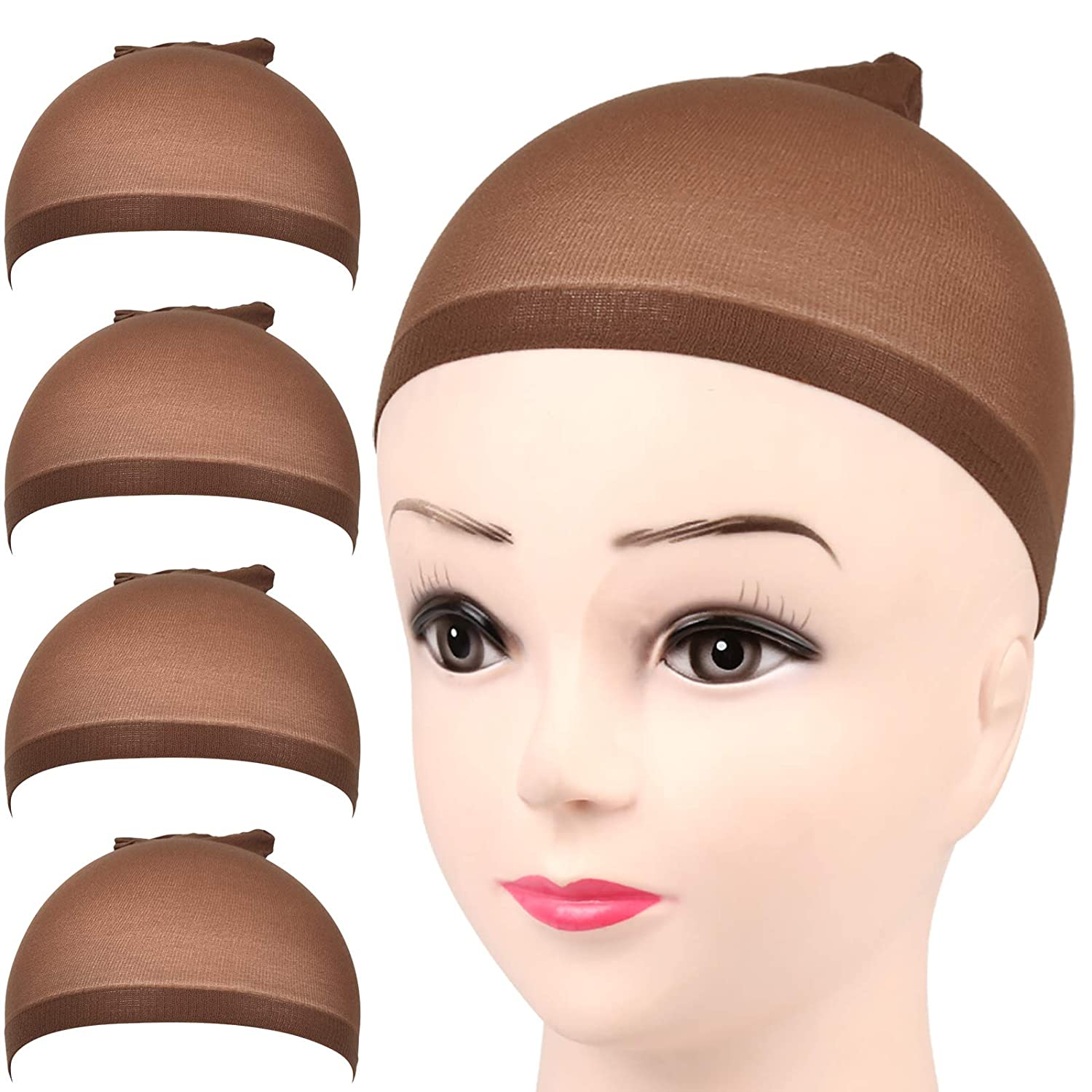 FANDAMEI 4 pieces Dark Brown ! Super beauty product restock quality top! Stocking Nylon Wig Stretchy Wi Bombing new work Caps