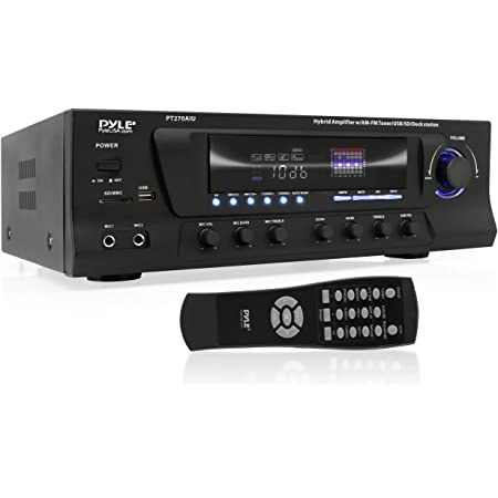 300W Digital Stereo Receiver System - AM/FM Qtz. Tuner, USB/SD Card MP3 Player & Subwoofer Control, A/B Speaker, IPhone MP3 Input with Karaoke, Cable & Remote - PT270AIU
