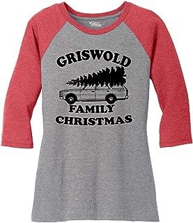 Ladies Griswold Family Christmas Funny Xmas Holiday Shirt 3/4 Raglan