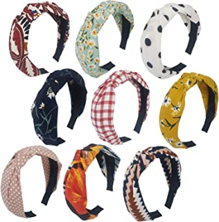 QiKoKo 9 Pieces Headbands Cloth Cross Twist Knot Turban Headband Hair Band Elastic Fashion Hair Accessories for Women and Girls (9p_pattern02)
