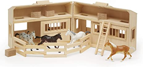 Melissa & Doug Fold and Go Wooden Horse Stable Dollhouse With Handle and Toy Horses (11 Pieces)